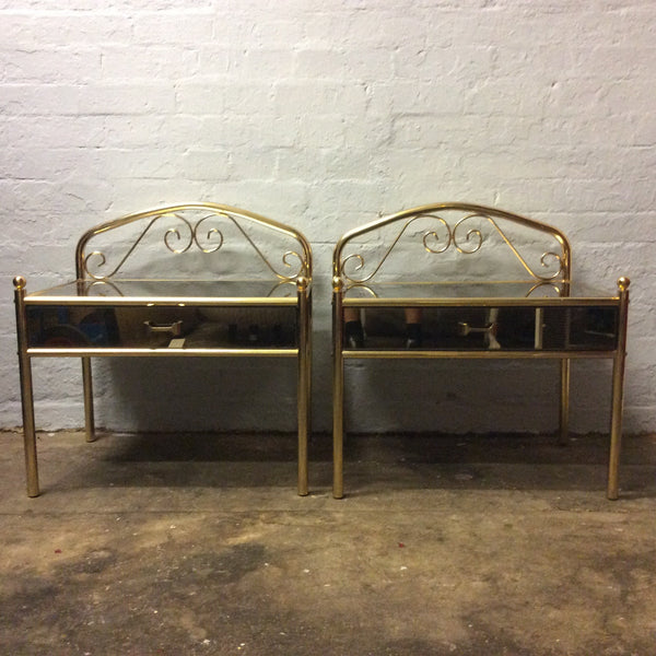 Vintage Pair of Black Glass Side Table with Gold Frame