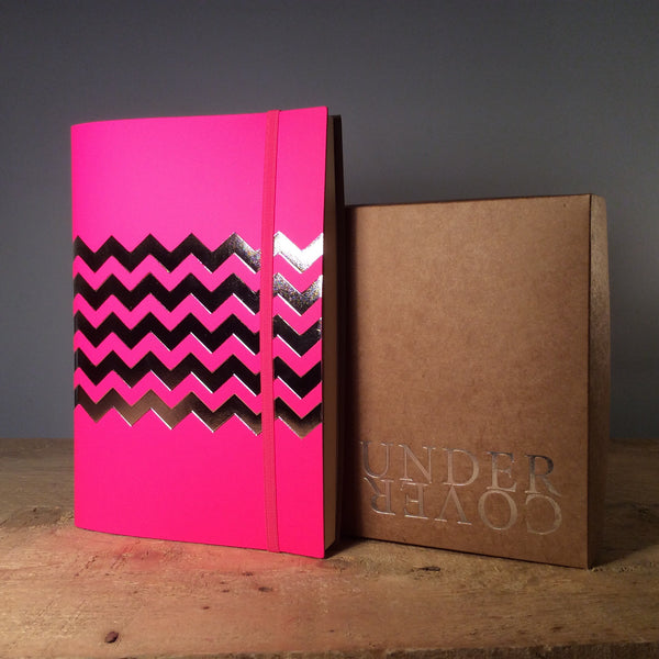 A5 Chevron Recycled Leather Notebook - Fluro Pink