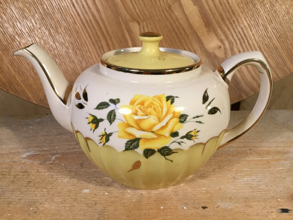 Yellow rose vintage teapot