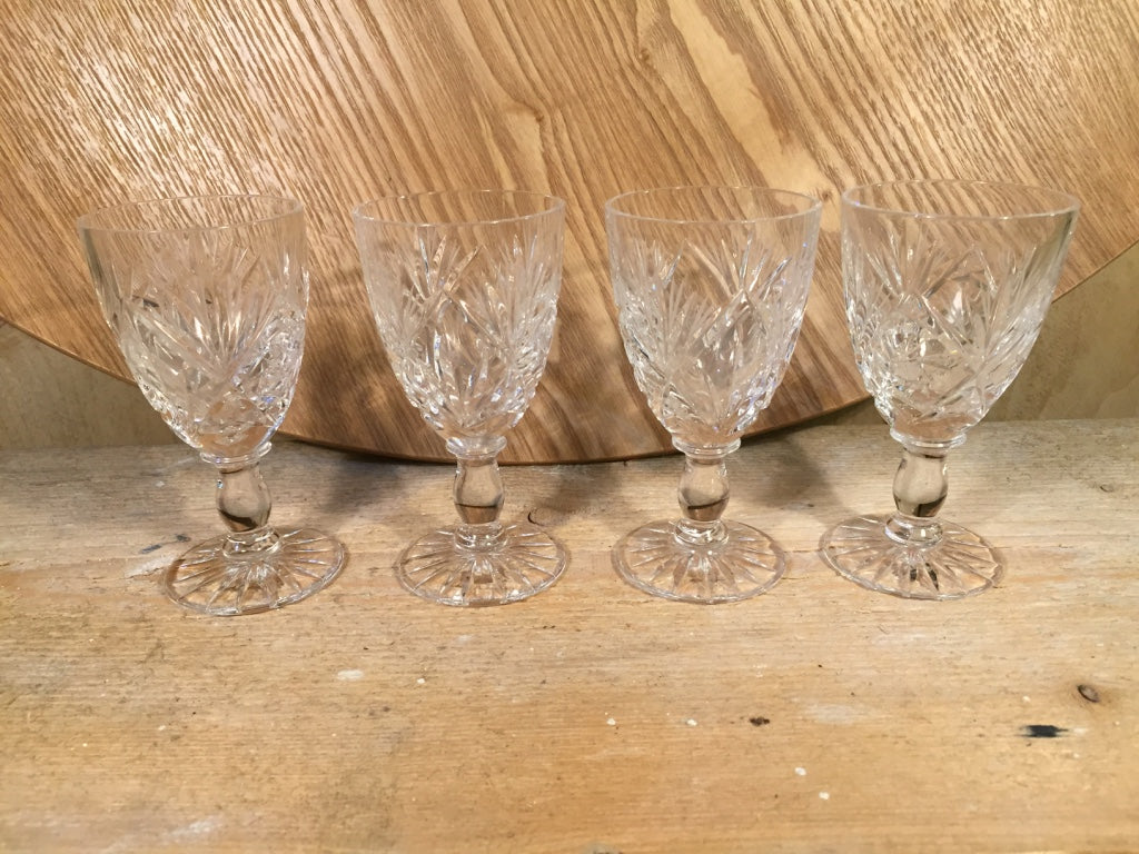Cut glass mini wine glass set of 4