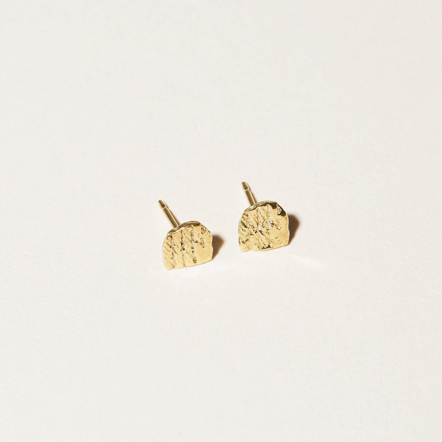 Faceted half-circle Arc Stud Earrings in 14k gold plate