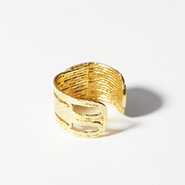 A wide band of with tapestry-like motif. This ring has a distinct pattern that resembles thread but is cast in 14k gold plated brass.