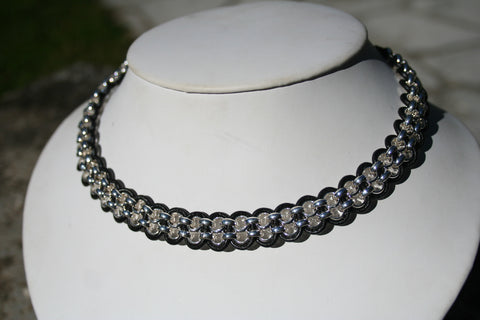 Chained Leather Collar Necklace 2-strands of Chain woven together with leather