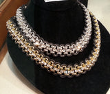 Chained Leather Crystal Strand Collar Necklace