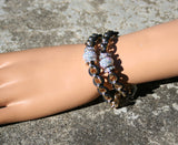 Chained Leather Double Wrist Wrap Bracelet with Swarovski Crystals