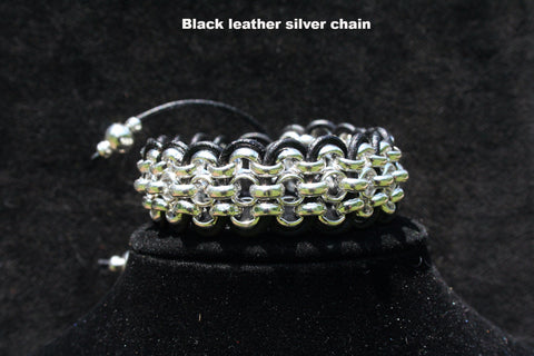 Chained Leather 3-strand Bracelet