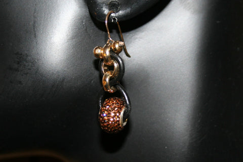 Austrian Crystal Chained Leather Gold Hook Earrings