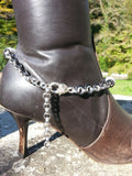 Chained Leather Boot Chain with crosses