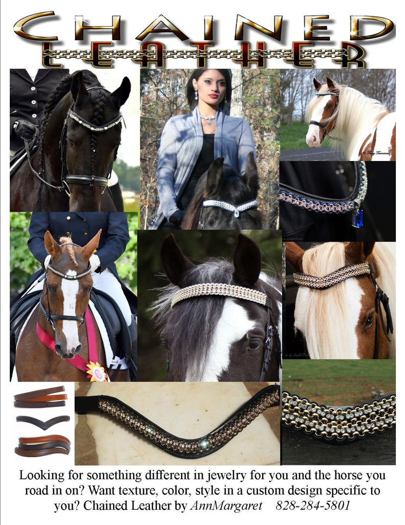 Details about  / Horse Brow Band Made With Leather Crystal Chain In Full Size