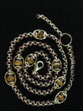 Chained Leather Swarovski Crystal and Linking Rings Long necklace - Wear Three Ways