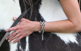 Chained Leather Boot Chain with crosses and horseshoes