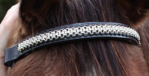 Chained Leather Single Crystal Strand Design Brow Band