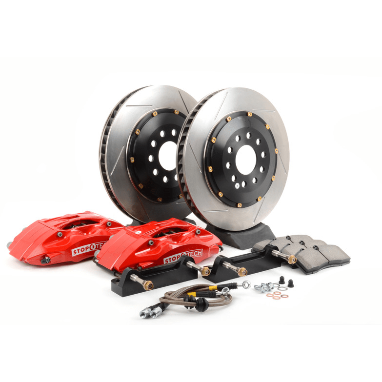 Stoptech BBK 07-09 BMW 335i/335d Rear 345x28 Slotted 2pc Rotors ST-40 Red Calipers - Redline Motorworks