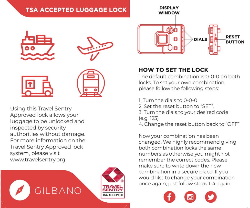 How to set a lock on the GILBANO aluminum suitcase MAGELLAN