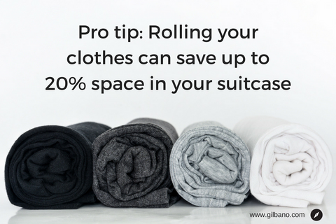 Pro tip: Rolling your clothes to save space in your suitcase