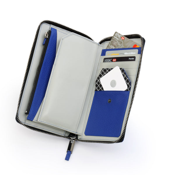 GILBANO Leather Travel Organizer - Kings - Electric Blue