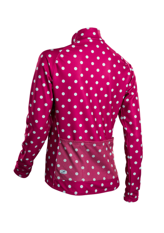 SUGOI Women's Evolution Long Sleeve (L/S) Jersey, Sangria/Pale Vista Dot Alt (U675500F)