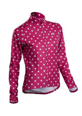 SUGOI Women's Evolution Long Sleeve (L/S) Jersey, Sangria/Pale Vista Dot (U675500F)