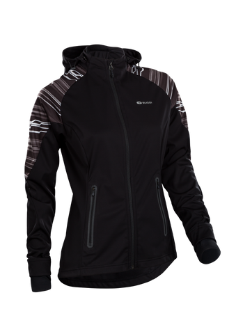 SUGOI Women's Firewall 180 Jacket, Black/White Stripe (U720010F)