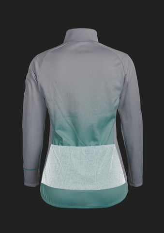 SUGOI Women's Evolution Zap Long Sleeve (L/S) Jersey, Teal Atomizer print Alt (U675020F)