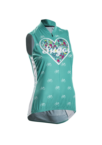 SUGOI Women's I Heart Bikes S/L Jersey, Light Jade (56251F)