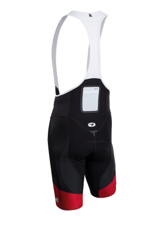 SUGOI Men's RSE Bib Short, Black/Chili Alt (39362U)