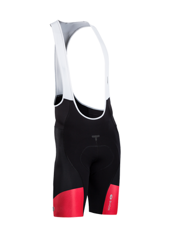 SUGOI Men's RSE Bib Short, Black/Chili (39362U)