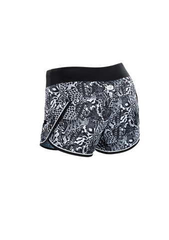 SUGOI Women's Fusion 4 inch Short, Black/WhiteFloral Alt (U300020F)
