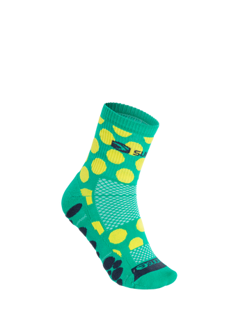 SUGOI RSR Quarter Sock Printed, Light Jade/Sulphur/Polka Dots (U940520U)