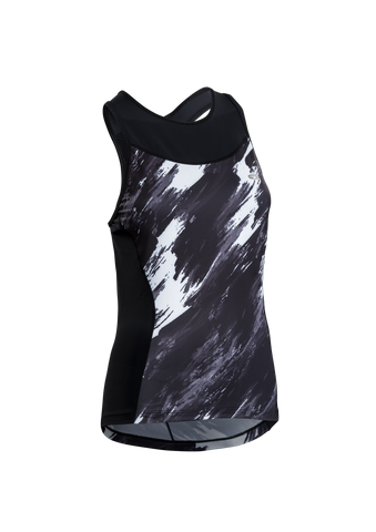SUGOI Women's RPM Tri Racerback Tank, Black/Brush Print (U203040F)