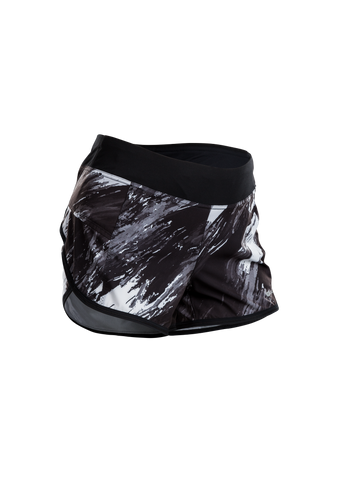 SUGOI Women's Fusion 4 inch Short, Black/Brush Print (U300030F)