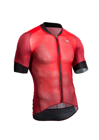 SUGOI Men's RS Climber`s Jersey, Red Dahlia/Mountain Print (U575520M)