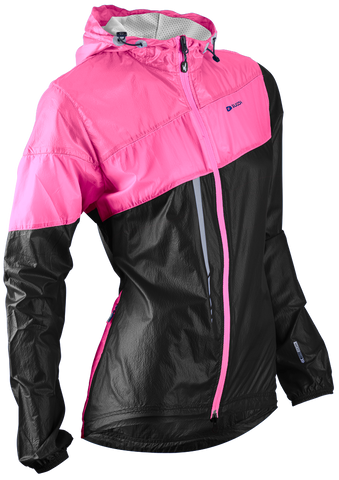 SUGOI Women's Run For Cover Jacket, Black/Super Pink (71201F)