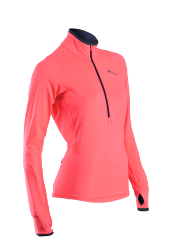 SUGOI Women's Fusion Core Zip, Electric Salmon (60036F)