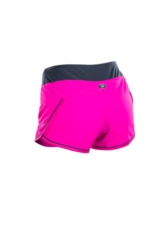 SUGOI Women's Fusion 4 inch Short, Full Fuchsia/Coal Blue Alt (U300010F)