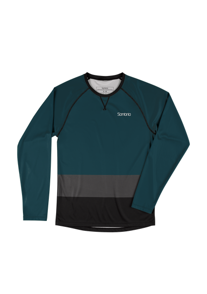 Sombrio Custom Chaos L/S Jersey - Colour Block, Deep Jade (CJ30M_LS_CLR)
