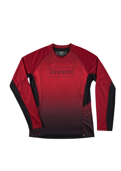 Sombrio Men's Pursuit Jersey, Deep Red Tie Dye (B690060M)