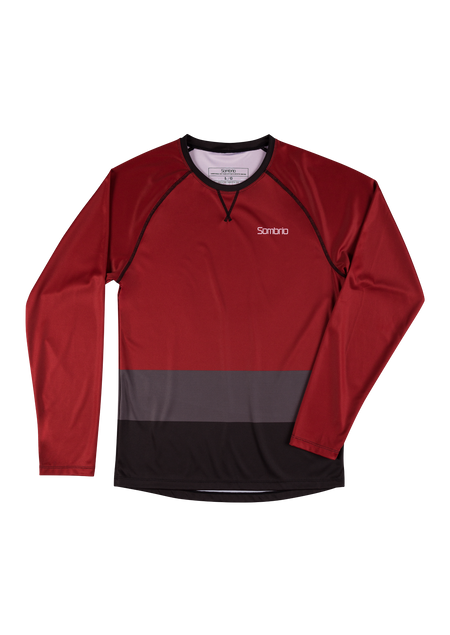 Sombrio Custom Chaos L/S Jersey - Colour Block, Deep Red (CJ30M_LS_CLR)