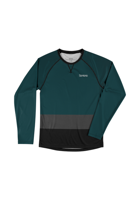 Sombrio Custom Groms Chaos L/S Jersey - Colour Block, Deep Jade (CJ32J_LS_CLR)