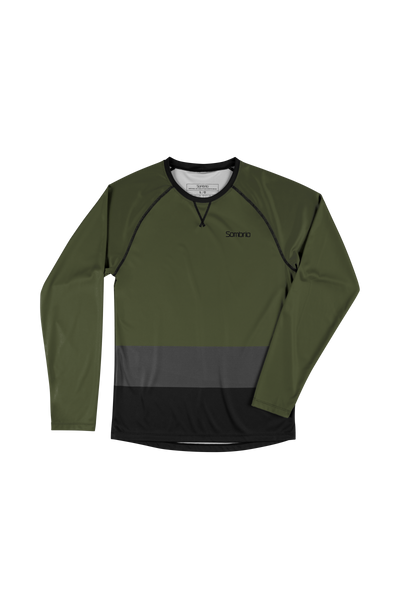 Sombrio Custom Groms Chaos L/S Jersey - Colour Block, Moss (CJ32J_LS_CLR)