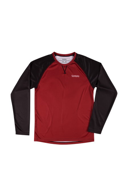 Sombrio Custom Groms Chaos L/S Jersey - Solid, Deep Red (CJ32J_LS_SLD)