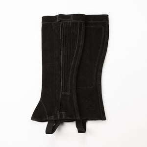 Half Chap - Black Suede - Elastic with Zipper Closure