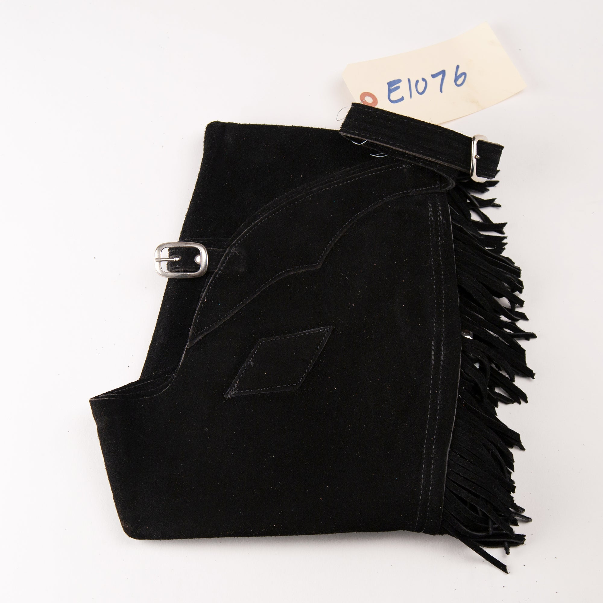English Schooling Chaps - Black Suede - Fringe and Diamonds