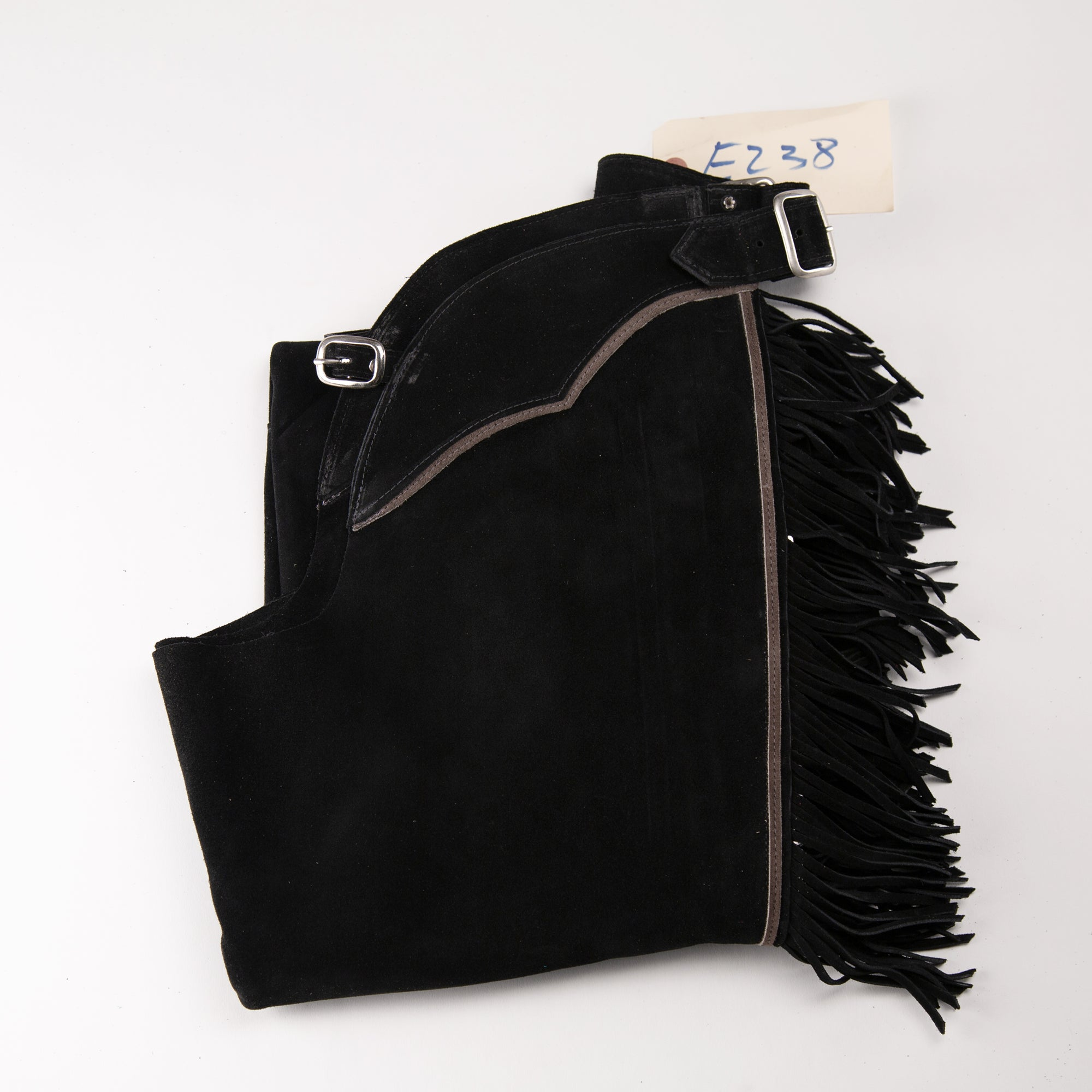 English Schooling Chaps - Black Suede - Fringe and Grey Stripes Bootcut