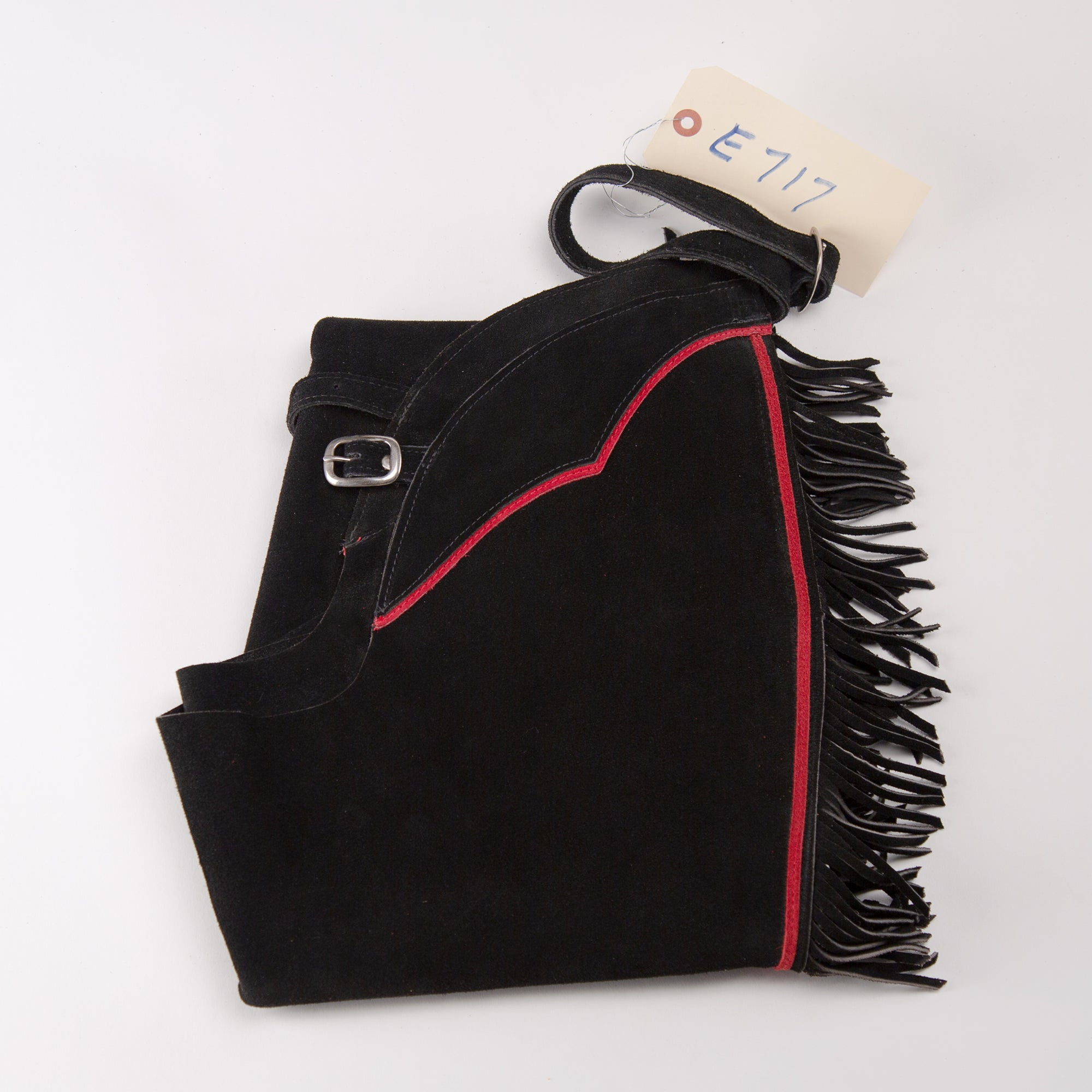 English Schooling Chaps - Black Suede - Fringe and Red Stripe