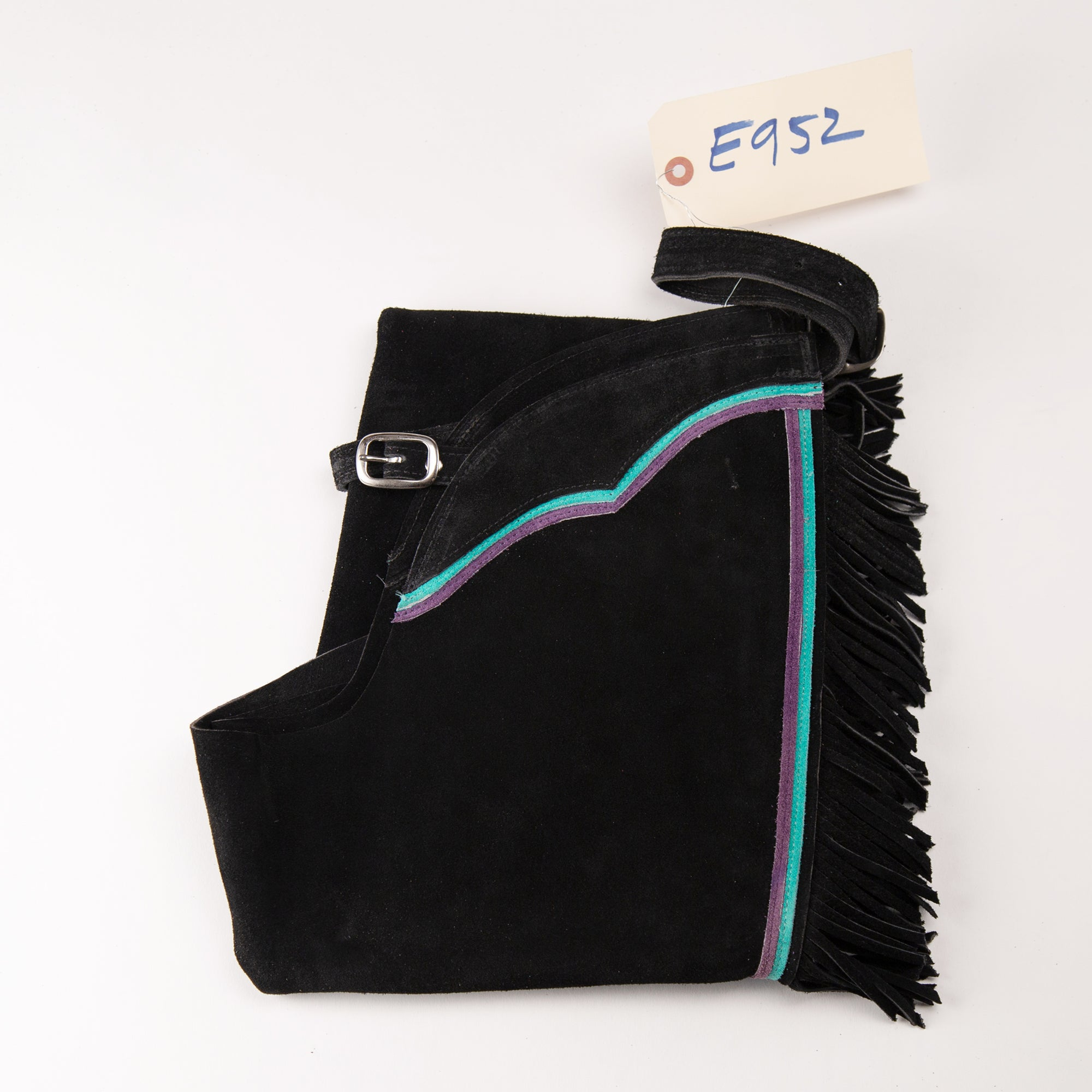English Schooling Chaps - Black Suede - Fringe and Teal and Purple Stripes