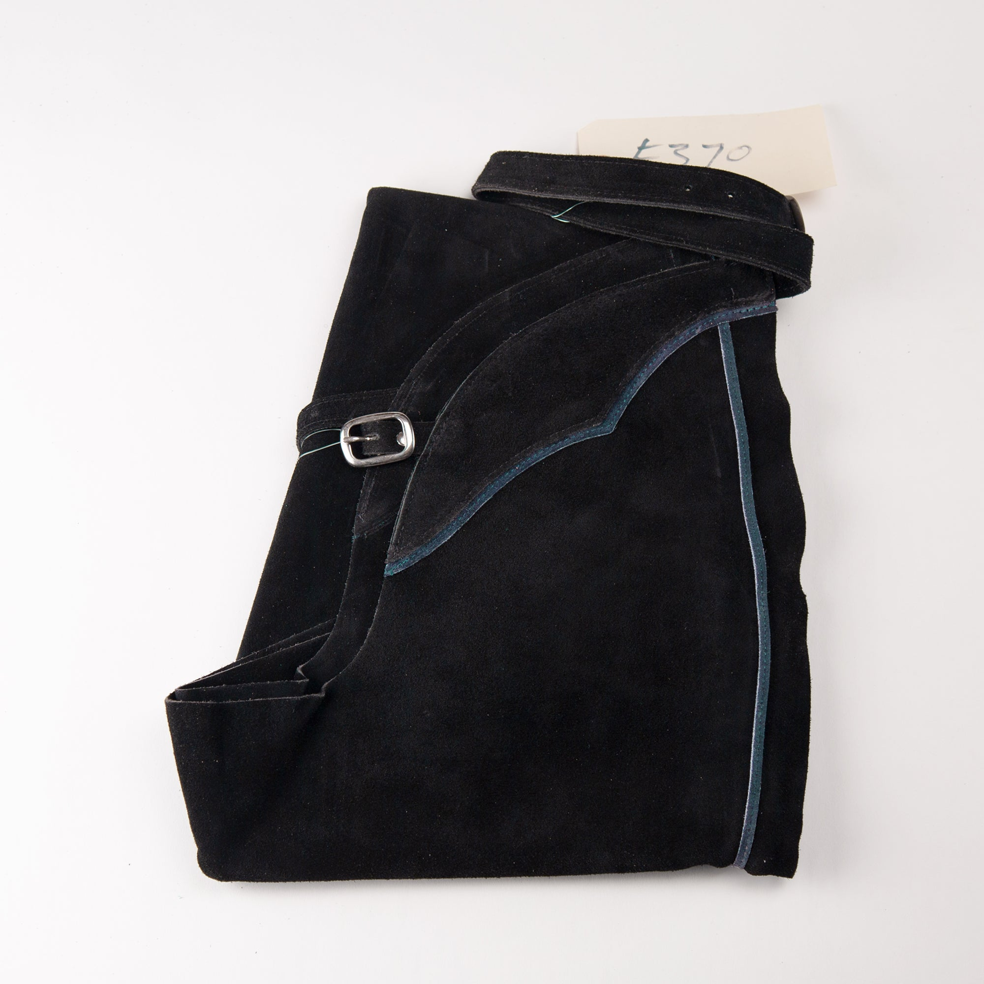 English Schooling Chaps - Black Suede - Navy Stripe