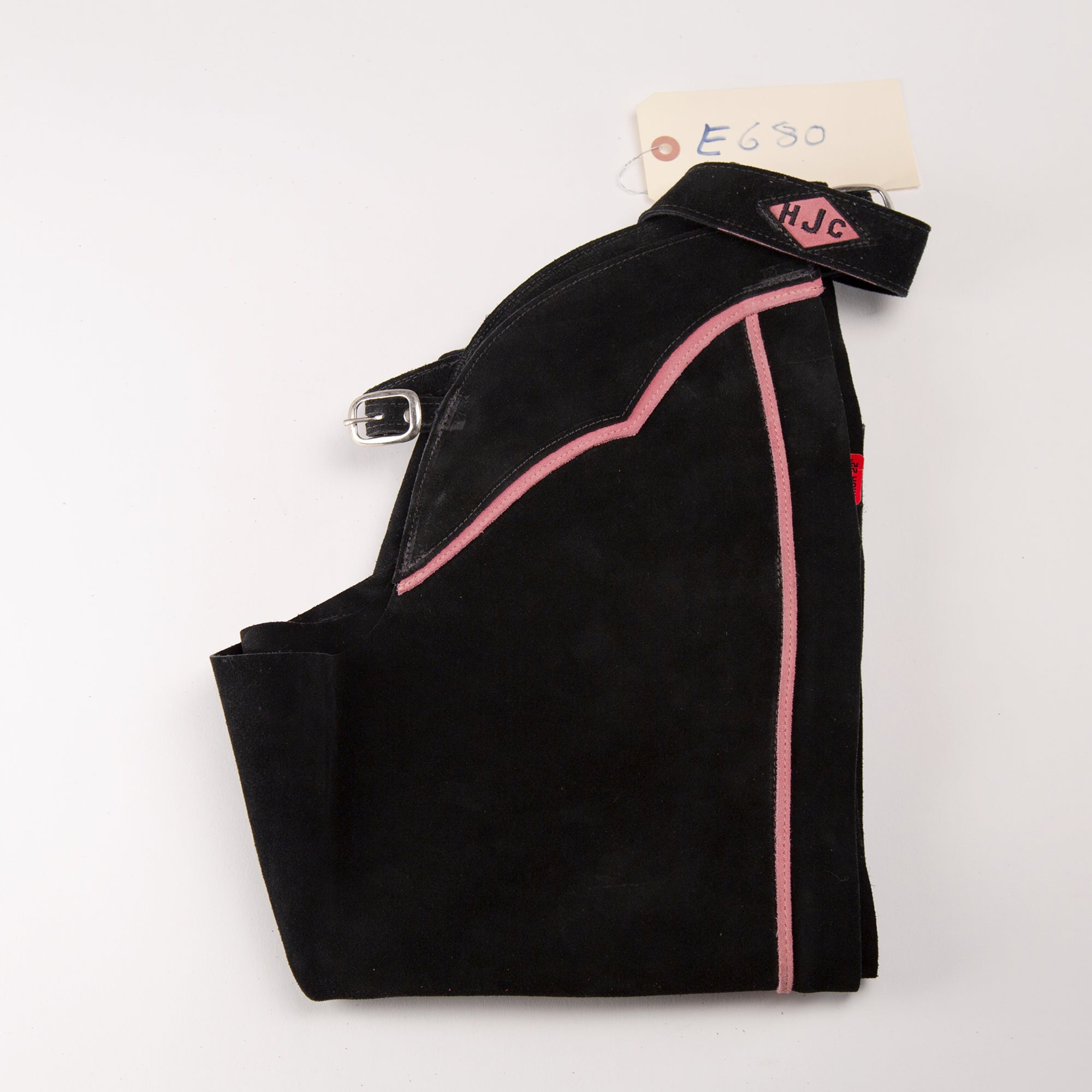 English Schooling Chaps - Black Suede - Pink Stripe and (HJC)Monogram