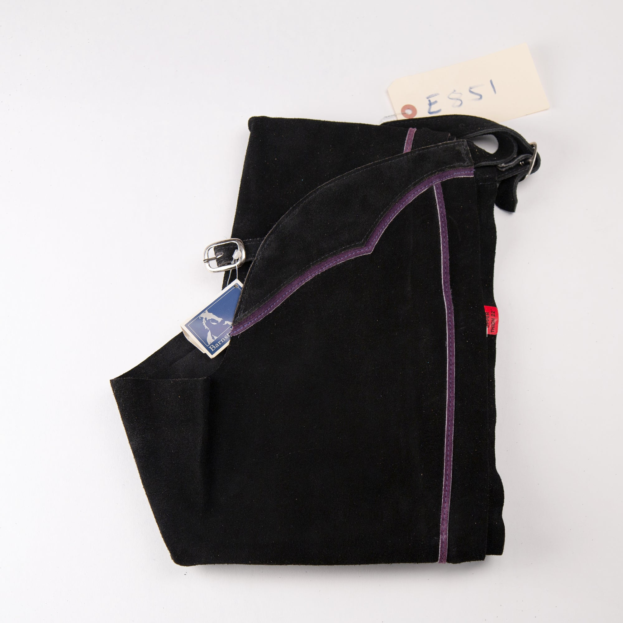 English Schooling Chaps - Black Suede - Purple Stripe plus 3in