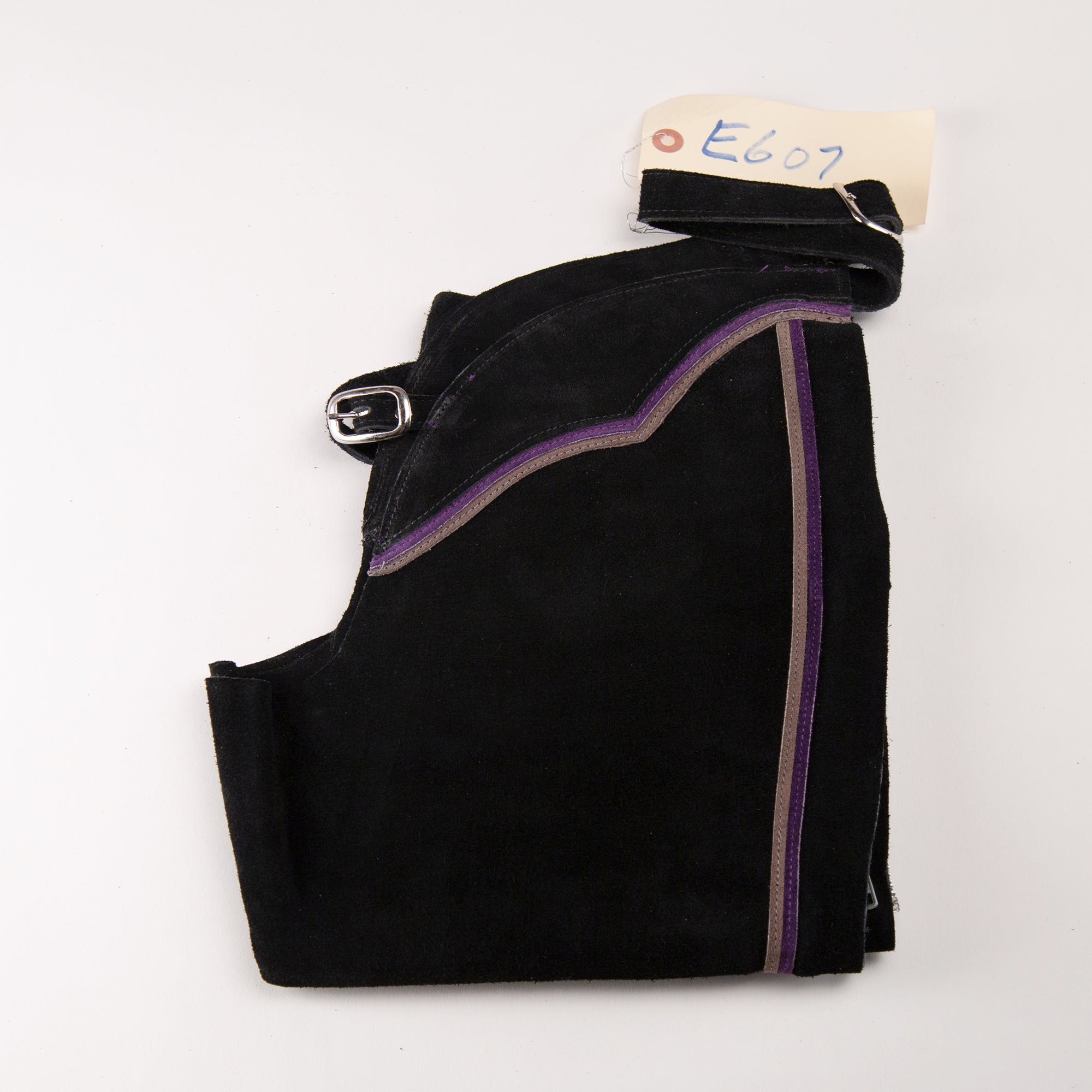 English Schooling Chaps - Black Suede - Purple and Grey Stripes